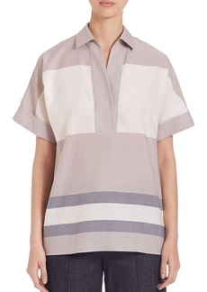 Lafayette 148 New York Kaya Striped Cotton Blouse