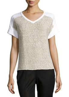 Lafayette 148 New York Knit-Panel Short-Sleeve Sweatshirt