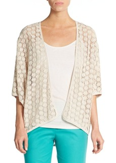 Lafayette 148 New York Lace-Detail Open Cardigan