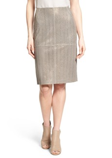 Lafayette 148 New York Laser Cut Lambskin Leather Modern Slim Skirt