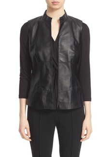 Lafayette 148 New York Leather Moto Vest
