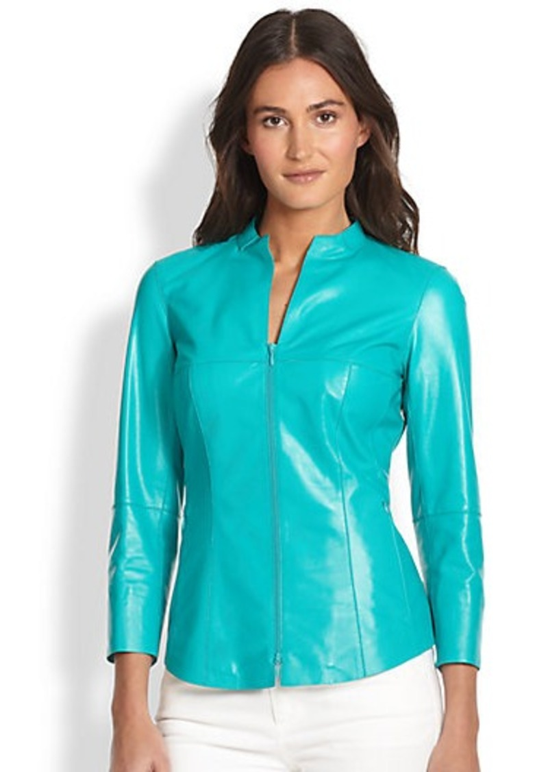 Lafayette 148 New York Leather Zip-Front Shirt