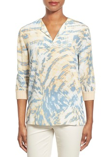 Lafayette 148 New York 'Leisha' Knit Cuff Silk Blouse (Regular & Petite)