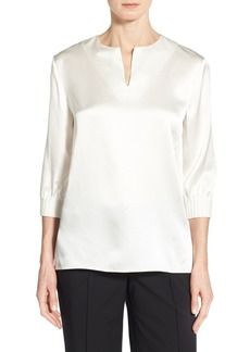 Lafayette 148 New York 'Leisha' Three Quarter Sleeve Silk Blouse