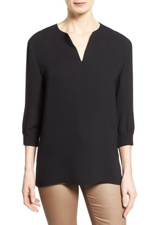 Lafayette 148 New York 'Leisha' Three Quarter Sleeve Silk Blouse (Regular & Petite)