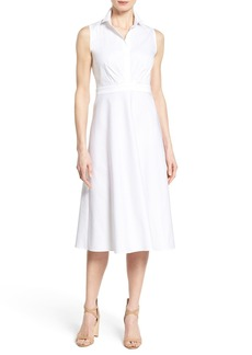 Lafayette 148 New York 'Livia' Sleeveless Poplin Fit & Flare Midi Dress