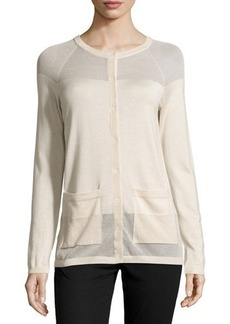 Lafayette 148 New York Long-Sleeve Cashmere-Blend Cardigan