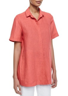 Lafayette 148 New York Lorenza Pleated-Back Linen Blouse
