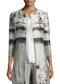 Lafayette 148 New York Louanna 3/4-Sleeve Floral Jacquard Topper Jacket