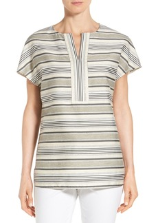 Lafayette 148 New York 'Lula' Stripe Split Neck Blouse