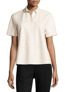 Lafayette 148 New York Maisie Leather Short-Sleeve Blouse