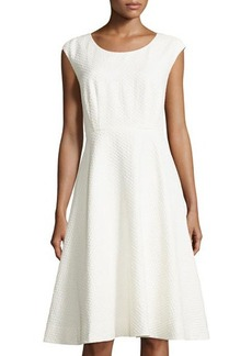 Lafayette 148 New York Milly Textured Cap-Sleeve Dress