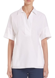 Lafayette 148 New York Mitra Stretch-Cotton Blouse
