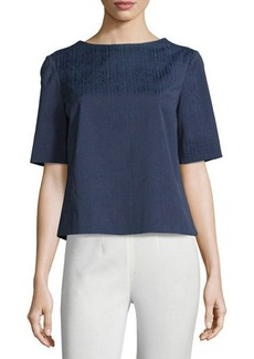 Lafayette 148 New York Molly Jacquard Half-Sleeve Blouse