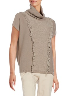 Lafayette 148 New York Multi-Stitch Fringed Wool Sweater