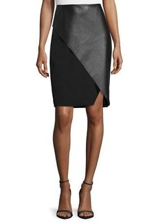 Lafayette 148 New York Nori Faux-Wrap Faux-Leather Pencil Skirt  Nori Faux-Wrap Faux-Leather Pencil Skirt