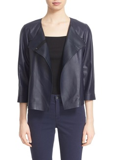 Lafayette 148 New York 'Odene' Collarless Lambskin Leather Topper