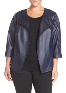 Lafayette 148 New York 'Odene' Collarless Lambskin Leather Topper (Plus Size)