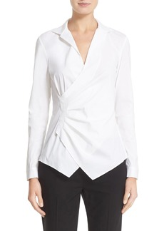 Lafayette 148 New York 'Iconic Collection - Odetta' Stretch Cotton Blouse