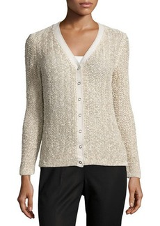 Lafayette 148 New York Open-Stitch Snap-Front Cardigan