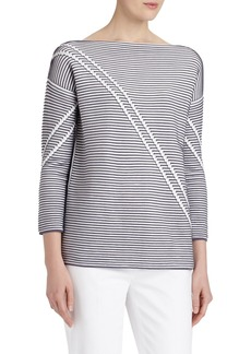 Lafayette 148 New York Pintuck Bicolor Jacquard Sweater