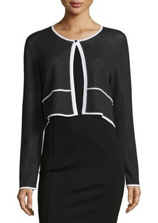 Lafayette 148 New York Plaited Bicolor Cropped Cardigan
