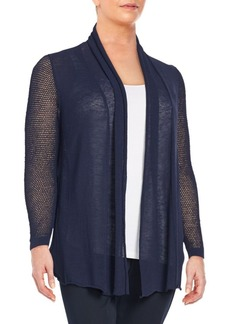 Lafayette 148 New York, Plus Size Linen Blend Mixed-Knit Cardigan