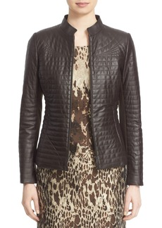 Lafayette 148 New York Quilted Lambskin Leather Jacket (Regular & Petite)