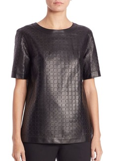 Lafayette 148 New York Rylan Leather Blouse