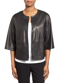 Lafayette 148 New York 'Sabina' Laser Cut Detail Lambskin Leather Jacket
