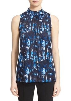 Lafayette 148 New York 'Sanura' Print Stretch Silk Sleeveless Blouse