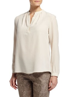 Lafayette 148 New York Sharla Long-Sleeve Crepe Blouse