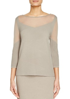 Lafayette 148 New York Sheer Panel Ribbed Sweater