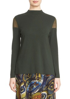 Lafayette 148 New York Sheer Shoulder Mock Neck Sweater