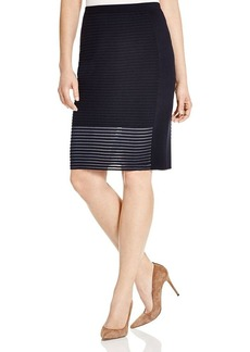 Lafayette 148 New York Sheer Stripe Pencil Skirt