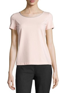 Lafayette 148 New York Short-Sleeve Metallic-Edge Top