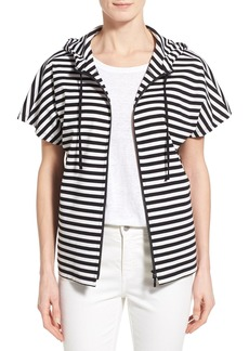 Lafayette 148 New York Short Sleeve Yarn Dye Stripe Jersey Hoodie