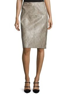 Lafayette 148 New York Snake-Print Leather Pencil Skirt