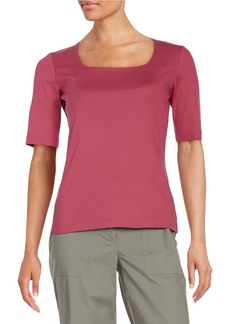 LAFAYETTE 148 NEW YORK Stretch-Cotton Squareneck Top