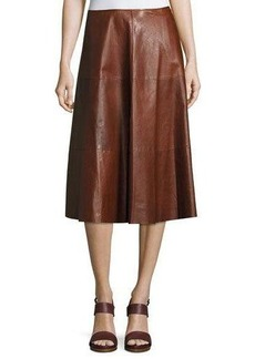 Lafayette 148 New York Suzie Leather A-Line Skirt