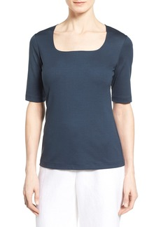Lafayette 148 New York Swiss Cotton Rib Square Neck Tee (Regular & Petite)