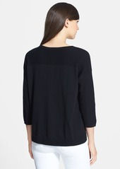 Lafayette 148 New York Textured Sleeve Cotton Sweater