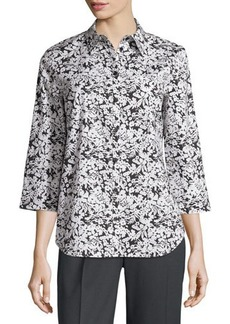 Lafayette 148 New York Three-Quarter-Sleeve Floral-Print Top