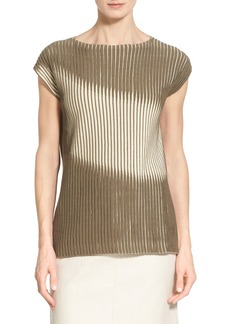 Lafayette 148 New York Two-Tone Cotton Blend Bateau Neck Sweater