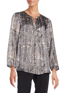 Lafayette 148 New York Urbane Chevron-Printed Silk Samantha Top