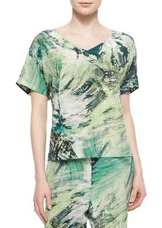 Lafayette 148 New York V-Neck Printed Tunic Top  V-Neck Printed Tunic Top