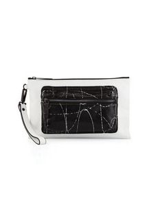 L.A.M.B. Ian Snake-Embossed Leather Wristlet