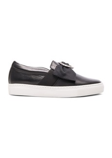 Lanvin Bow & Heart Leather Slip On Sneakers