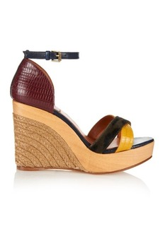 Lanvin Calf-hair and leather espadrille wedges