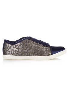 Lanvin Capped-toe leopard-jacquard low-top trainers